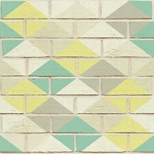 Green Diamond on White Brick Wallpaper Harlequin Paste the Wall Kitchen 33088-4