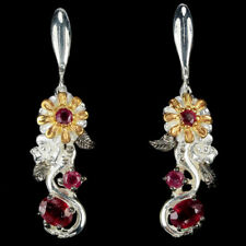 GENUNE AAA BLOOD RED RUBY OVAL & ROUND STERLING 925 SILVER 3-TONE FLOWER EARRING