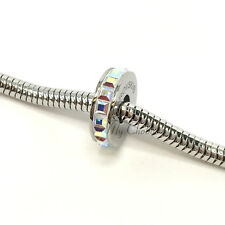 Swarovski European Fit Bracelet Charm Stainless BeCharmed Pave Stopper Crystal