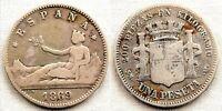 Gobierno provisional. 1 Pesetas. 1869*-69 Madrid. MBC-/VF- Plata 4,8 g. Rara