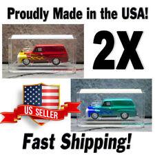 2X 1:64 SCALE CRYSTAL CLEAR ACRYLIC DISPLAY CASES MATCHBOX HOT WHEELS USA Made!
