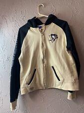 Reebok  NHL Pittsburgh Penguins Zip Hoodie Gold Black Size Large