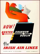 Now Boston to Shannon Dublin Ireland Airline Vintage Irish Travel Poster Print