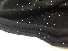 coupon de tissu voile polyester fond noir petit pois cuivre  : 3 m