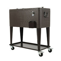 Outdoor 80QT Rattan Cooler Cart Patio Portable Ice Chest Shelf Drink Beverage US