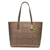 NWT COACH Town Tote Classic Canvas Shoulder Bag Luxury Khaki Saddle Gold F76636