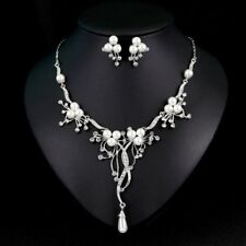 Silver Branch Pearls Necklace Earrings Wedding Jewelry Set Handmade Bridal USA