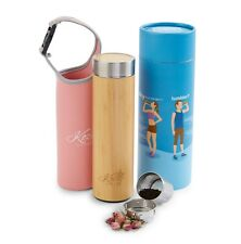 Organic Bamboo Tumbler with Tea Infuser & Strainer by Kozy Kitchen (Pink)