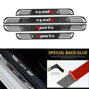 4PC Rubber+Carbon Fiber Car Door Scuff Sill Cover Panel Step Protector Universal