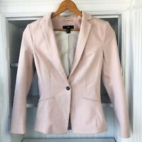 H&M Women's Blush Light Pink Open Front Blazer Jacket, Sz 4, Long Sleeve, Button
