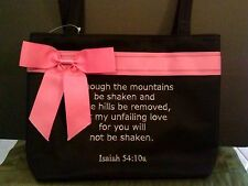 Bible Verse Church PURSE Isaiah 54:10 Embroidered Hand Bag with Pink BOW