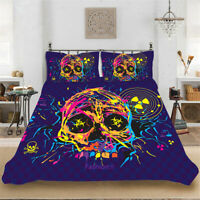 Color Skull Quilt Doona Cover Set Queen Size Bed Duvet Covers Pillowcases