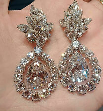 Solid 925 Sterling Silver Pear Round Wedding Dangle Earrings Women Cz Jewelry Nw