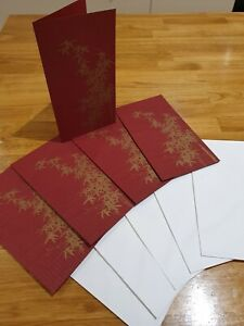 Arts & Crafts- Blank Birthday Fathers Mothers Day Cards Oriental Gold & Deep Red