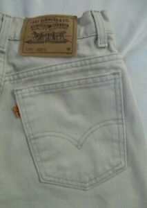 VTG Orange Tab Levi's 950 Off White Relaxed Fit Tapered Leg Size 8 Petite M  USA