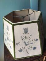 Vintage hexagon shape stenciled lampshade velvet trim bird tulip country