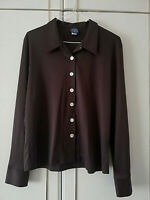 """JET CLOTHING COMPANY WOMENS BROWN SHIRT BLOUSE LONG SLEEVE SIZE 12 LENGTH 25 """""""