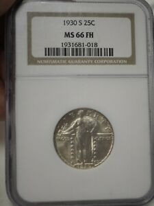 1930-S 25c NGC MS 66 FH NGC MINT STATE 66  # 1018
