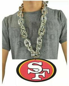 San Francisco 49ers NFL SILVER FanChain Necklace Big Rope Chain 3D Foam Magnet