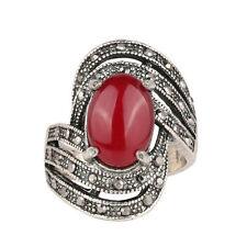 Silver Red Wave Stone Unisex Men Women Finger Medium size O 17 mm Ring FR275