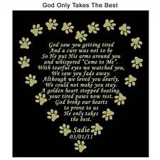 Personalized Pet Memorial Poem Name Plate - Several Sizes & Poem Choices Dog Cat