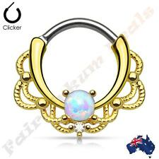 316L S Steel Gold Ion Plated Lacey Septum Ring Clicker with Single White Opal