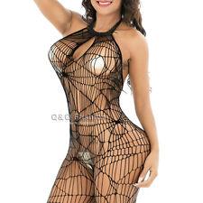 Spider Web Witch Pole Dancer Lace Fishnet Bodysuit Stocking Lingerie Babydoll J