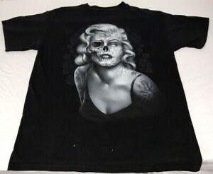 Vintage Day of the Dead Heavy Metal Rock Sugar Skulls Marilyn Medium T-shirt