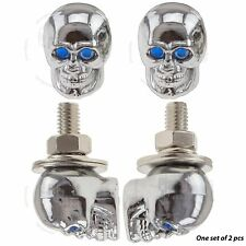 2x Chrome Skull License Plate Windshield Bolt Blue Eyes Motorcycle Auto Fastener