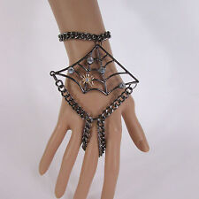 Slave Ring Fashion Bracelet Spider Halloween Sexy Women Black Metal Hand Chains