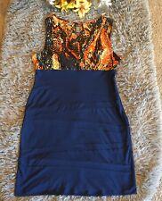 Bisou Bisou Womens V-neck Sleeveless Zip Body Con Navy Dress Ruching Size 16
