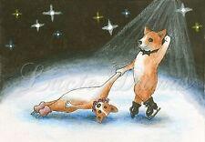 ACEO art print Dog 59 Corgi ice skating from original painting L.Dumas