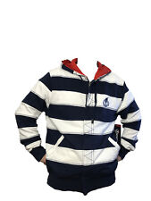 Generra Men'S Full Zip Hoodie Sweatshirt Heavy Cotton White Navy Strip XL