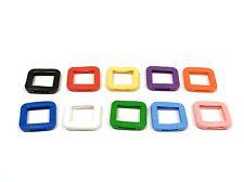 10 Stück Schlüsselkappen - eckig - farblich sortiert - Schlüsselkennringe - 8007