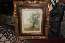 Superb Oil Painting on Canvas-Boy Sitting Under Tree-Depressed Painting-Signed