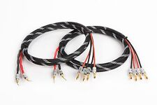 Canare 4S11 HI-FI Bi-Wire Speaker Cable Pair, Braided 2 Pin  to 4 Banana, 6 Ft.