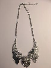 """SILVER WITH Rhinestone Heart Angel Wings Necklace 5"""" ACROSS X 2.5 HIGH-N1658"""
