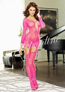 7 Colors Sexy Fishnet Bodystocking Crotchles Bodysuit Lingerie Lace-up Nightwear