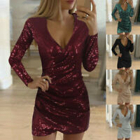 Women Sequin Glitter V Neck Bodycon Mini Dress Evening Cocktail Party Wrap Dress