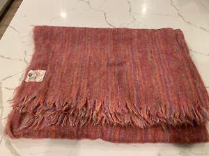 "New Vintage Glen Cree Mohair Throw Blanket ~ 46"" X 56"" Scotland Pink Rainbow"