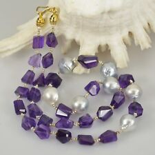 NECKLACE South Sea & Akoya Keshi PEARLS, AMETHYST BEADS, Gold Vermeil 925 SILVER