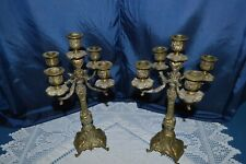 Beautiful Pair of Candlesticks 5 Fire Bronze Golden Time 1900