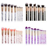 10PCS/Set Marbling Kabuki Make up Brush Set Brushes Blusher Face Powder