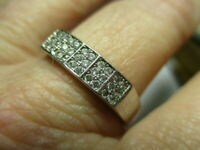 STERLING SILVER 925 ESTATE REL MENS CUBIC ZIRCONIA BAND RING SIZE 11.5