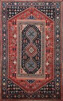 Antique Nomadic Yalameh Hand-knotted Geometric Area Rug Wool Oriental 3x5 Carpet
