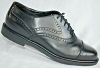 Hush Puppies Bounce Black Leather Wing Tip Shoes Comfort Cup Toe Men Size 7.5 M