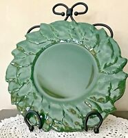 RARE ESTE CE GREEN LEAF OVERLAY PLATTER PLATE CHARGER Handpainted ITALY Majolica