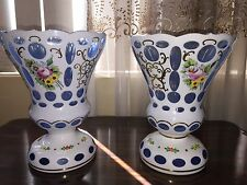 2 MAGNIFICENT ANTIQUE MOSER CUT TO CLEAR BLUE OVERLAY HAND PAINTED GLASS VASES