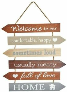 Multi Arrow Welcome to Our Home Large Hanging Wooden Sign Wall Plaque Gift