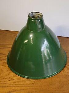 """Vintage Green Enamel Light Shade 8"""" Barn Factory Gas Station Industrial"""